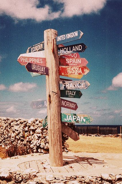 Travel directions sign vintage